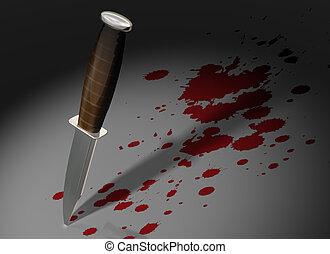 Crime scene - Illustration of a knife stuck in a crime scene