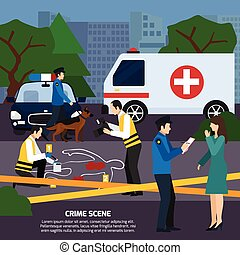 Crime Scene Flat Style Illustration
