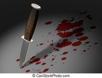 Crime scene - Illustration of a knife stuck in a crime scene