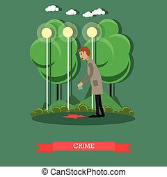 Crime scene investigation vector illustration