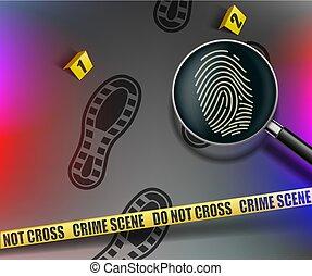 Crime scene. Magnifying glass with fingerprint. police warning tape