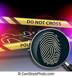 Magnifying glass with fingerprint. - Crime scene. Magnifying...