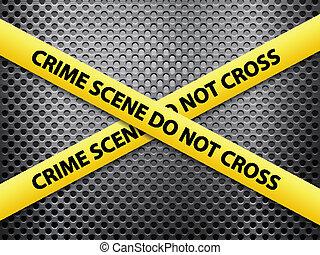crime scene metal background - Yellow crime scene tape on a...