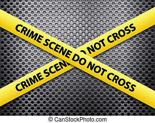 Yellow crime scene tape on a metal background.