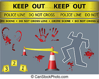 Crime scene objects - Caution sign lines, body contour,...