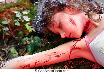 Crime scene - A dead girl's body found in the forest
