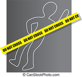 Crime Scene - Chalk drawing for a crime scene with yellow...