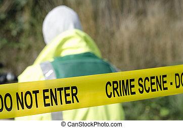 Crime Scene - Forensic detective working at a crime scene