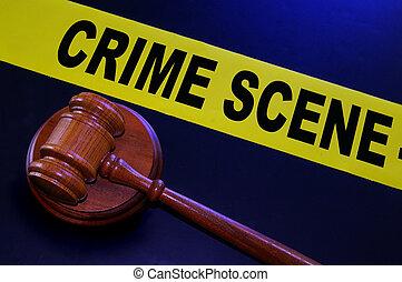 crime scene tape and legal gavel