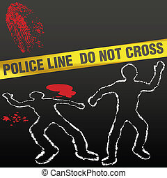 Crime scene with police tape corpse chalk outlines and bloody fingerprint