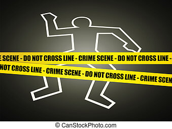 Vector illustration of a police line on crime scene