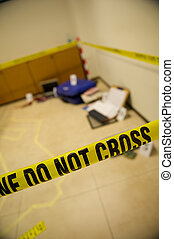 Crime scene with police tape corpse chalk outlines and...