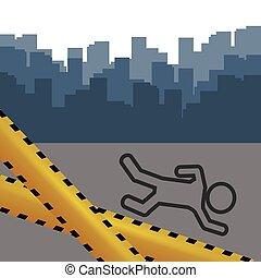 crime scene with tape