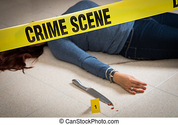 crime scene with woman dead