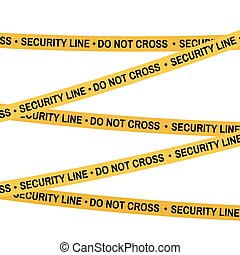 Crime scene yellow tape, police line Do Not Cross Security tape. Cartoon flat-style. Vector illustration. White background.