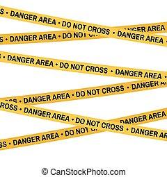 Crime scene yellow tape, police line Do Not Cross danger area tape. Cartoon flat-style. Vector illustration. White background.