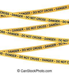 Crime scene yellow tape, police line Do Not Cross Danger tape. Cartoon flat-style. Vector illustration. White background.