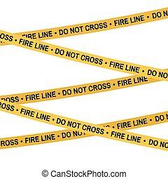 Crime scene yellow tape, police line Do Not Cross Fire line tape. Cartoon flat-style. Vector illustration. White background.