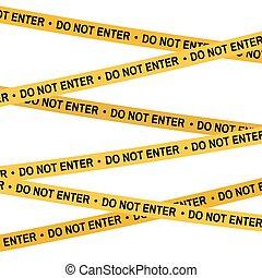 Crime scene yellow tape, police line Do Not Enter, Cross tape. Cartoon flat-style. Vector illustration. White background.