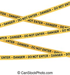Crime scene yellow tape, police line Do Not Enter,Cross Danger tape. Cartoon flat-style. Vector illustration. White background.