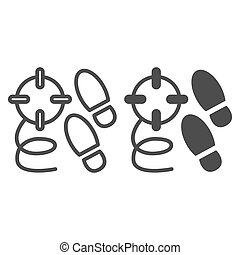 Crime steps line and solid icon. Footprint and crime search, killer tracks and bullet trace. Jurisprudence design concept, outline style pictogram on white background, use for web and app. Eps 10.