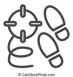 Crime steps line icon. Footprint and crime search, killer tracks and bullet trace. Jurisprudence design concept, outline style pictogram on white background, use for web and app. Eps 10.