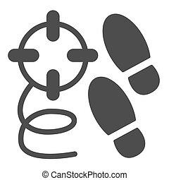 Crime steps solid icon. Footprint and crime search, killer tracks and bullet trace. Jurisprudence design concept, glyph style pictogram on white background, use for web and app. Eps 10.