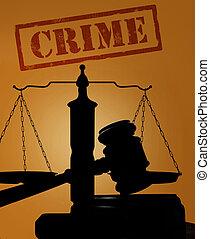 crime, texte, à, marteau, et, balances