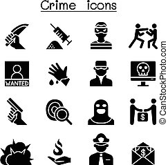 Crime & violence icon set