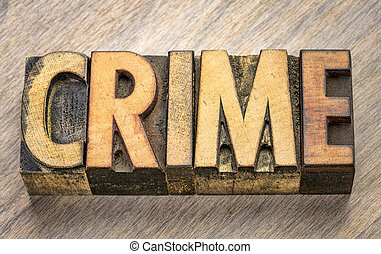 crime word in letterpress wood type