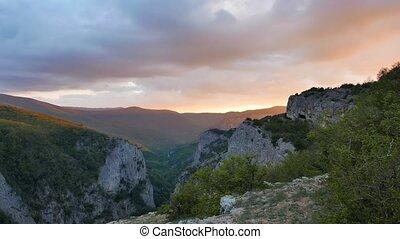 Crimea Grand Canyon at sunset panorama