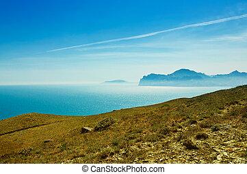 Crimea landscape with mountain and sea bay