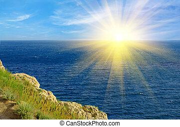 Crimea landscape with mountain, sea and sun