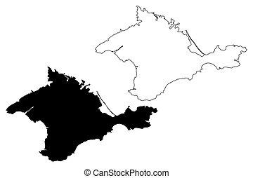 Crimea Outline Map Set Russian Version Crimea Blank Outline Map