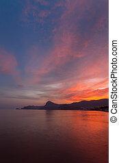 red sky over the black sea Crimea