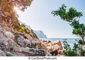 crimean, παραλία , light., πρωί , χερσόνησος , crimea, εύρεση , europe., θεαματικός , ουκρανία