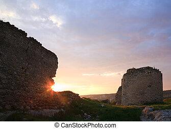 crimean, antiga, fortaleza, pôr do sol, vista, (ukraine)