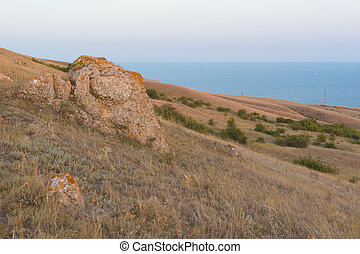Crimean hills in the background of the black sea