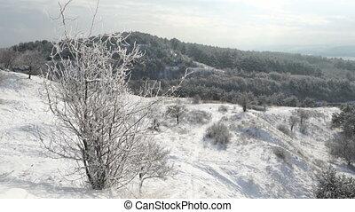 Crimean winter mountain landscape. Gimbal steadicam movement...