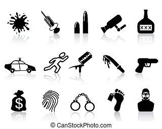 crimen, conjunto, iconos