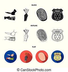 crimen, contorno, insignia, plano, policía, estilo, símbolo, ataque, pickpockets., conjunto, robo, vector, acción, web., iconos, negro, ilustración, huella digital, colección, oficial