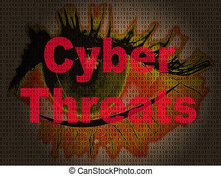 crimen, cybersecurity, riesgo, cyber, 2d, ilustración, amenazas