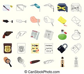 crimen, design., vector, caricatura, detective, conjunto, agencia, tela, acción, contorno, colección, símbolo, iconos, investigación, illustration.