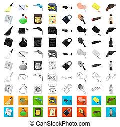 crimen, design., vector, detective, caricatura, conjunto, agencia, tela, acción, colección, símbolo, iconos, investigación, illustration.