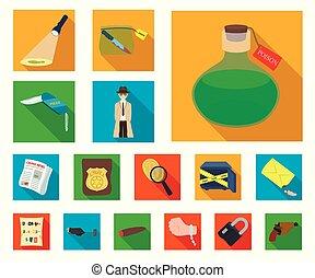 crimen, design., vector, detective, plano, conjunto, agencia, tela, acción, colección, símbolo, iconos, investigación, illustration.