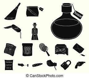crimen, design., vector, negro, detective, conjunto, agencia, tela, acción, colección, símbolo, iconos, investigación, illustration.