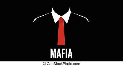 crimen, silueta, corbata, mafia, hombre, rojo