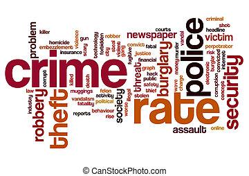 crimen, tasa, palabra, nube
