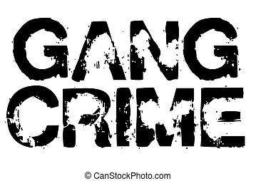 crimen, tipográfico, estampilla, pandilla