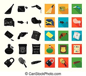 crimen, vector, detective, negro, illustration., plano, conjunto, agencia, tela, acción, colección, símbolo, iconos, investigación, design.